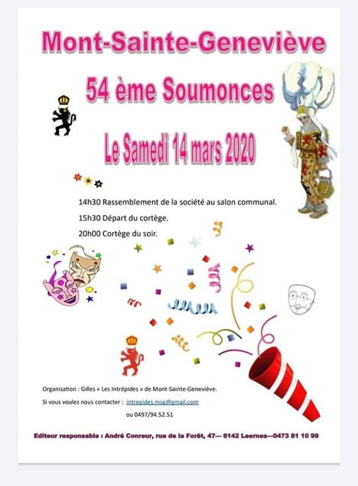 invitation aux soumonces du carnaval de Mont Sainte Geneviève 2020